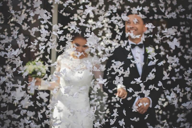 Canons à confettis 60 CM Papillons blancs