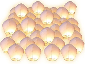 Lanternes volantes blanches (Multiple de 50)