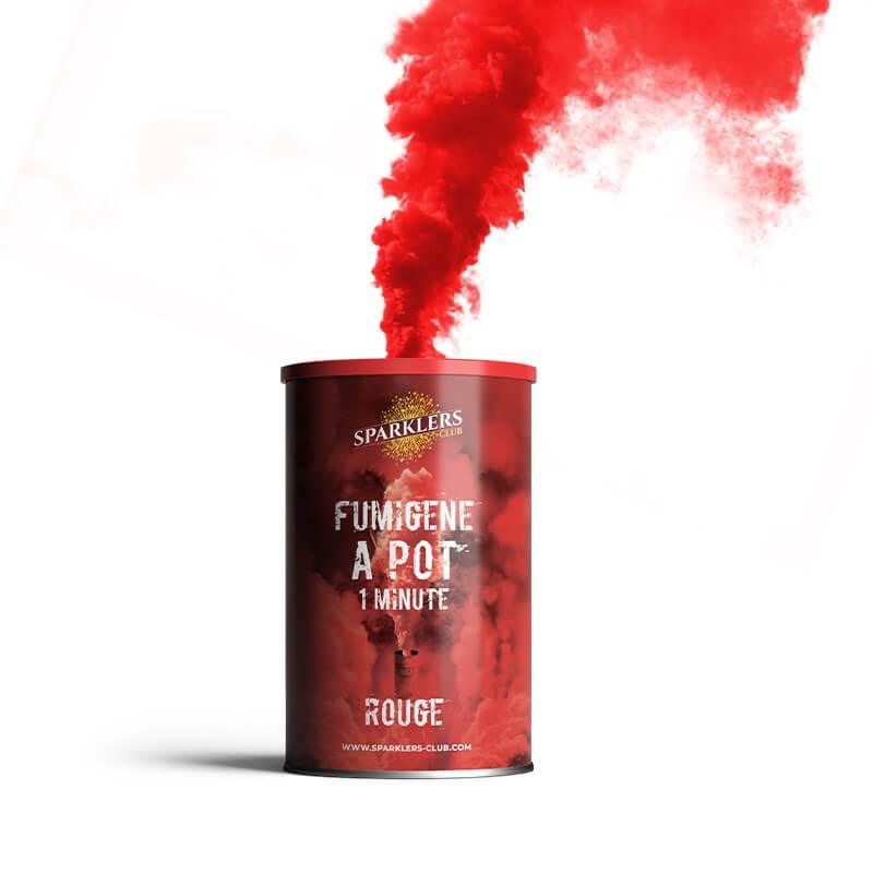 Fumigène en pot 1 minute rouge (à poser au sol)