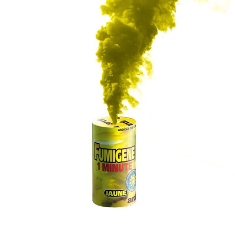 Fumigène en pot 1 minute jaune (à poser au sol)