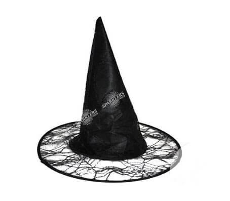 Chapeau sorcière avec toile d'araignée