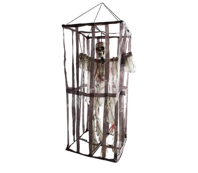 Squelette en cage lumineux et sonore à suspendre 95cm