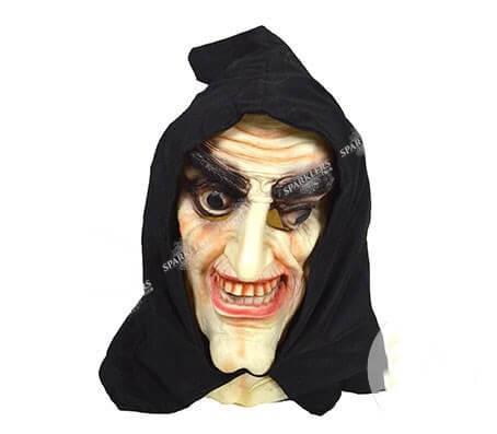 Masque latex de sorcier avec cagoule noire