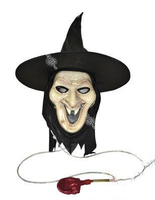 Masque et chapeau de sorcière avec pompe à sang