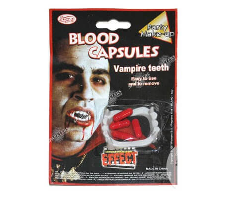 Kit vampire dentier et capsules de faux sang