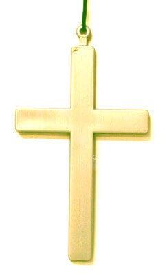 Collier croix en plastique dorée 22cm