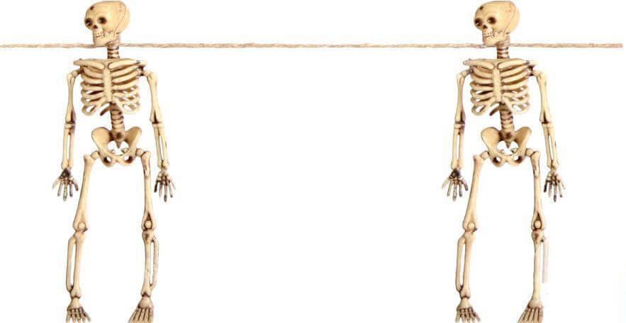 Guirlande avec 8 squelettes 3D