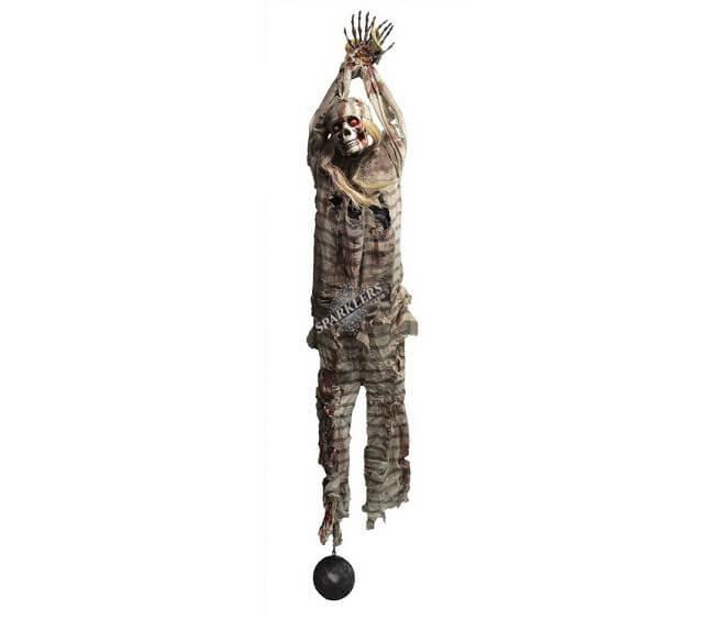Suspension lumineuse squelette bagnard avec boulet 210cm