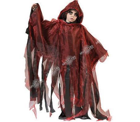 Cape de vampire rouge avec capuche pour enfant