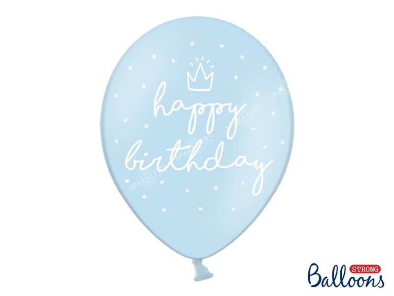 """Lot de 10 Ballons """"HAPPY BIRTHDAY"""" Bleus"""