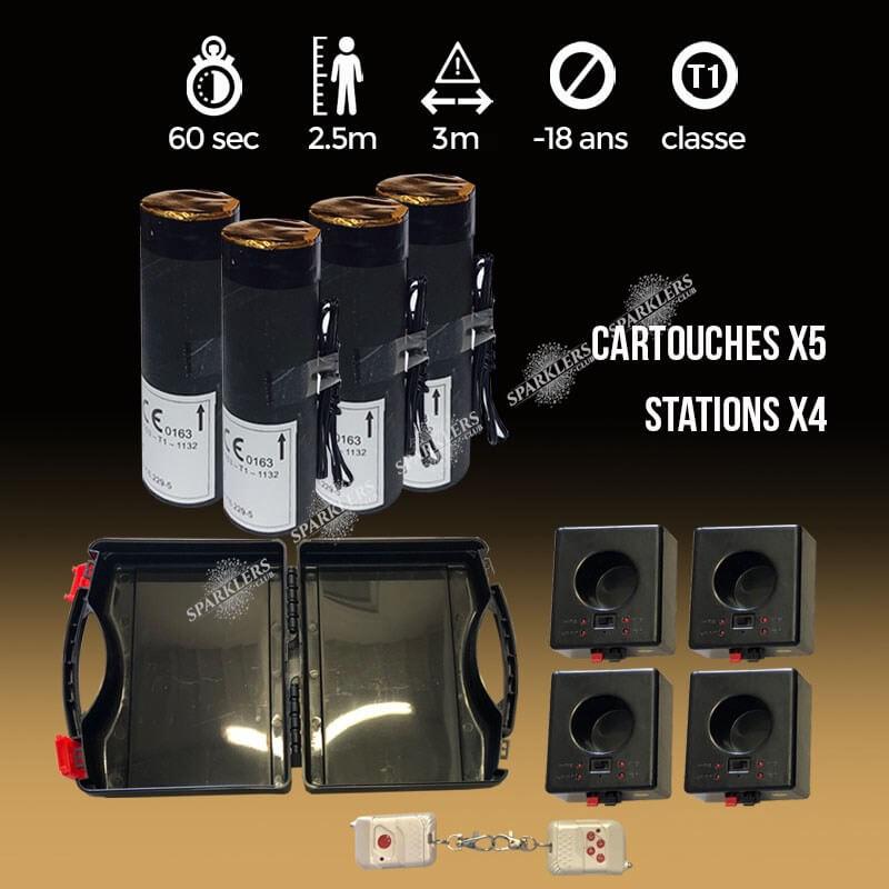 Pack Mariage 4 stations + 5 jets de scène 3 mètres / 30 sec