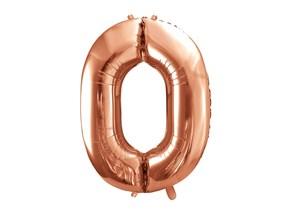 Ballon anniversaire chiffre 0 Or rose 86cm