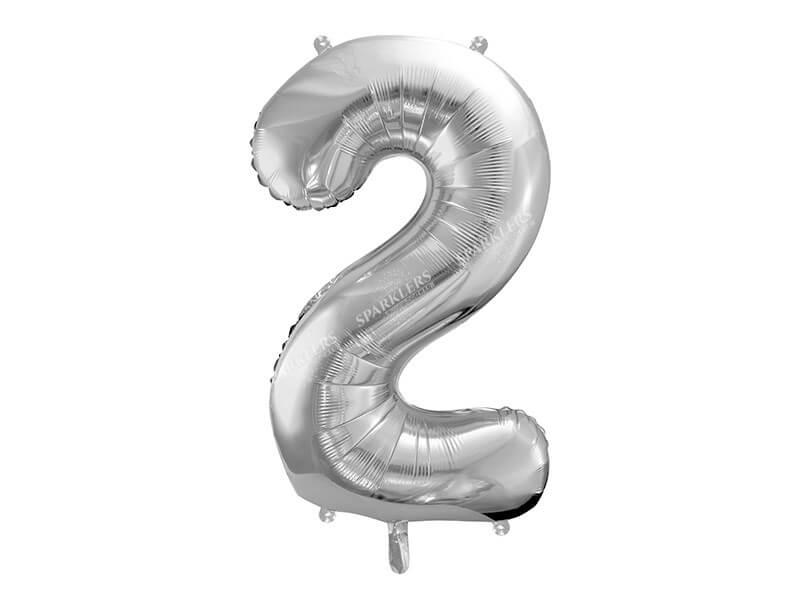 Ballon anniversaire chiffre 2 Argent 86cm