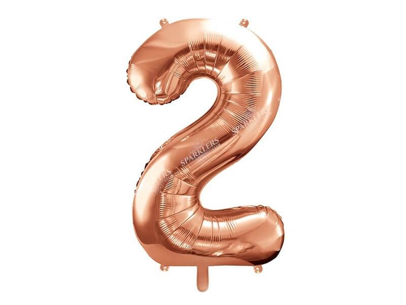 Ballon anniversaire chiffre 2 Or Rose 86cm