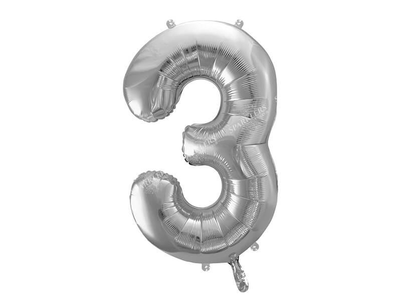 Ballon anniversaire chiffre 3 Argent 86cm