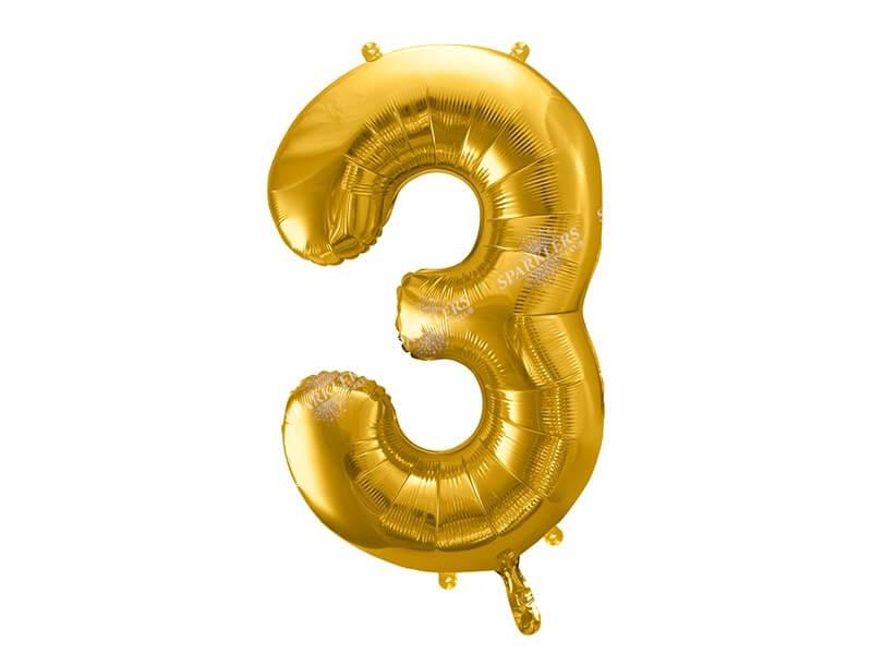 Ballon chiffre 3 Or (gold) 86cm