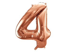 Ballon anniversaire chiffre 4 Or Rose 86cm