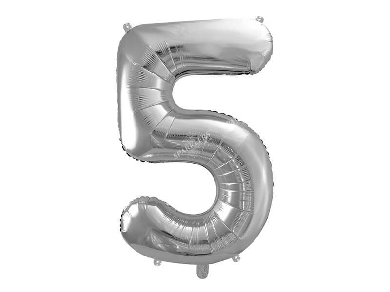 Ballon anniversaire chiffre 5 Argent 86cm