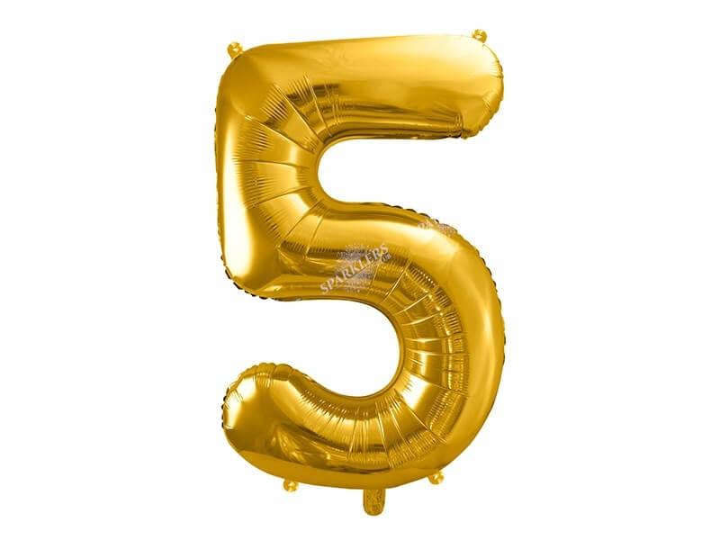 Ballon chiffre 5 Or (gold) 86cm