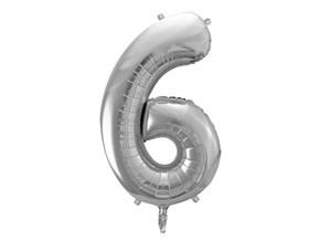 Ballon anniversaire chiffre 6 Argent 86cm