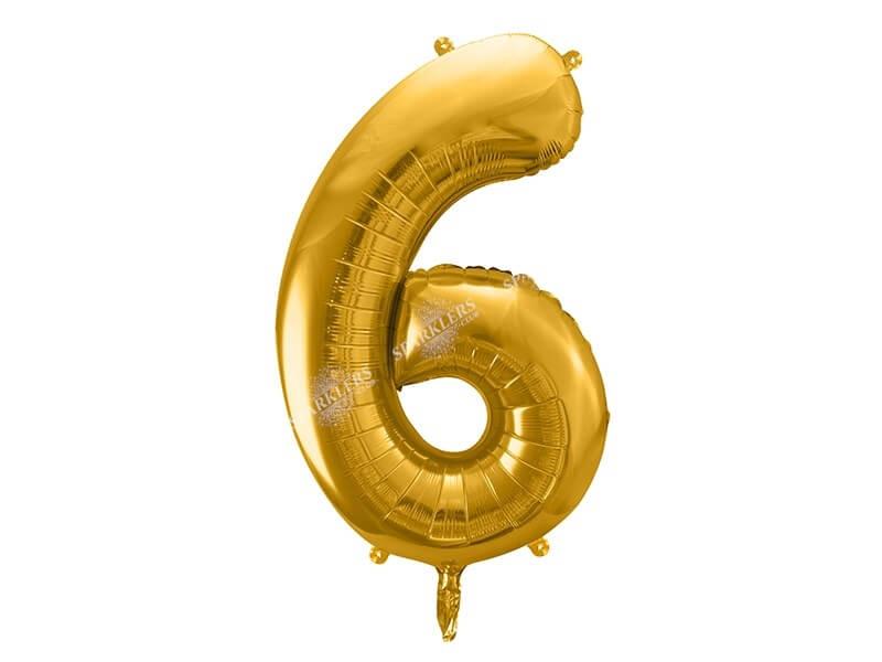 Ballon chiffre 6 Or (gold) 86cm