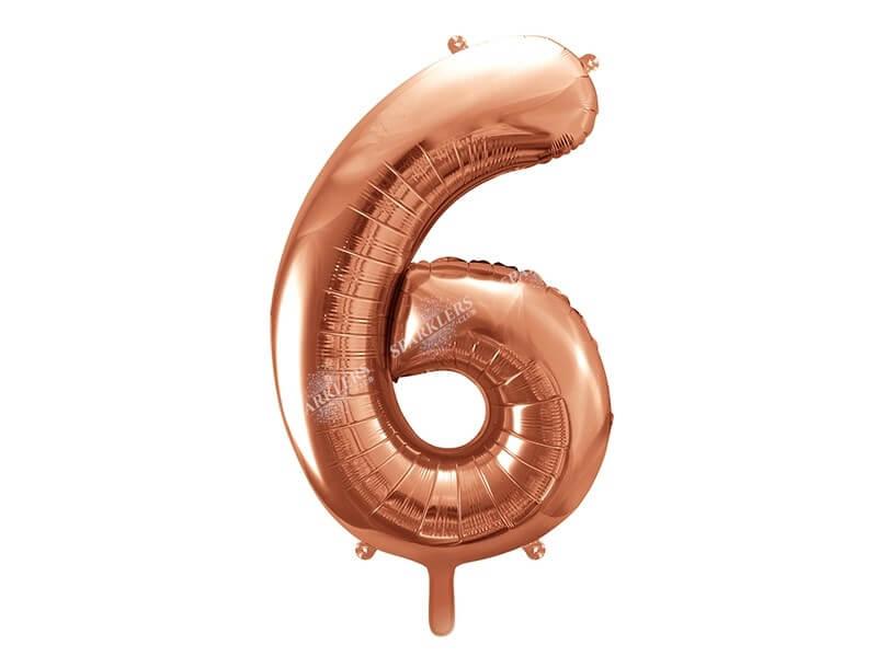 Ballon anniversaire chiffre 6 Or Rose 86cm