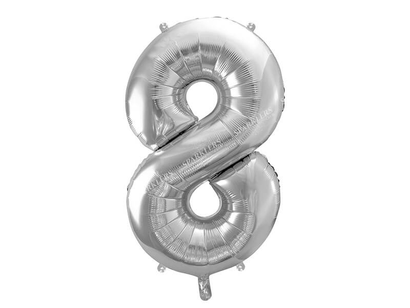 Ballon anniversaire chiffre 8 Argent 86cm