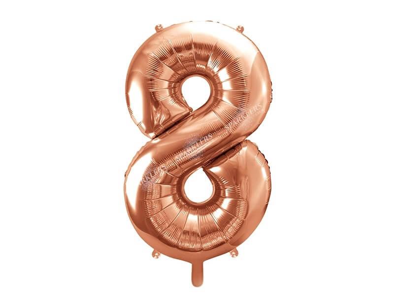Ballon anniversaire chiffre 8 Or Rose 86cm