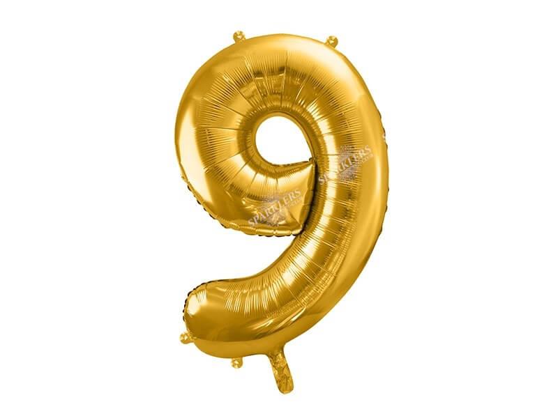 Ballon chiffre 9 Or (gold) 86cm
