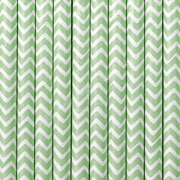 100 Pailles en papier couleur blanc & vert