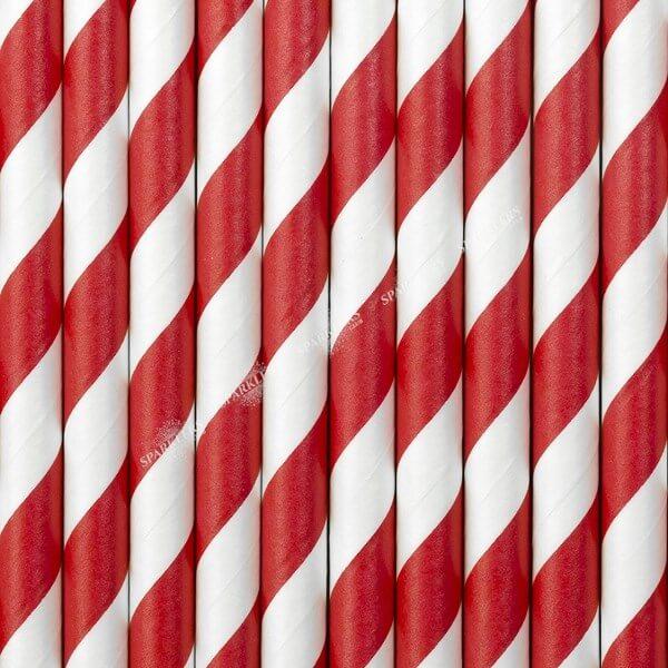 100 Pailles en papier de couleurs rouges à rayures blanches