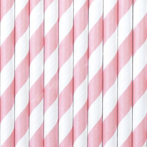 100 Pailles en papier de couleurs roses à rayures blanches