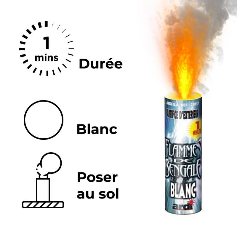 FUMIGENE FLAMME DE BENGALE BLANC 1 MN