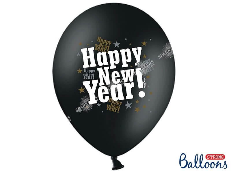 Lot de 50 Ballons noir métallique Happy New Year
