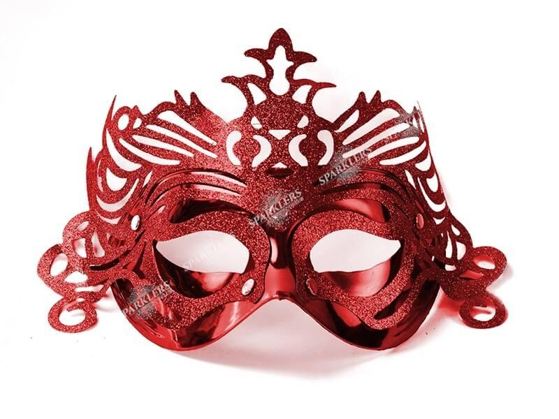 Masque vénitien avec ornement rouge