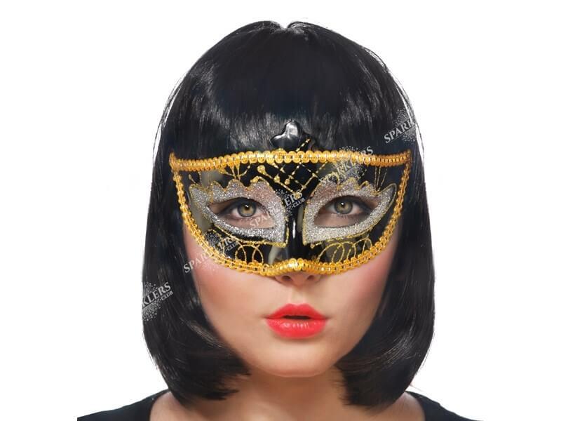 Masque vénitien noir et argent