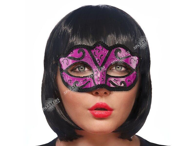 Masque vénitien noir et fuchsia