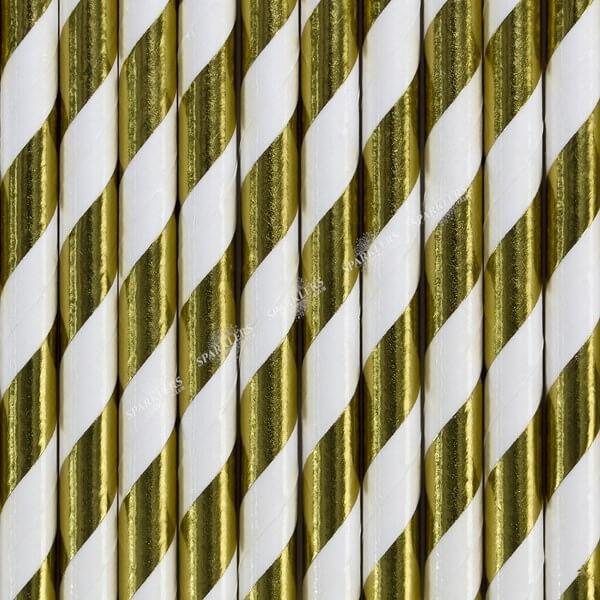 100 Pailles en papier de couleurs or à rayures blanches