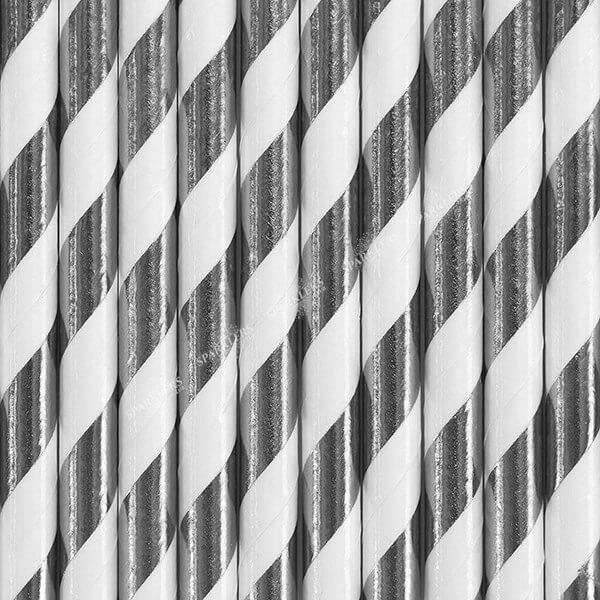 10 Pailles en papier de couleurs argent à rayures blanches
