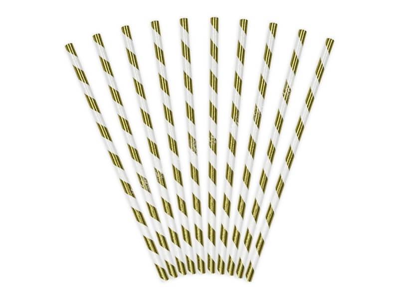 10 Pailles en papier de couleurs or à rayures blanches