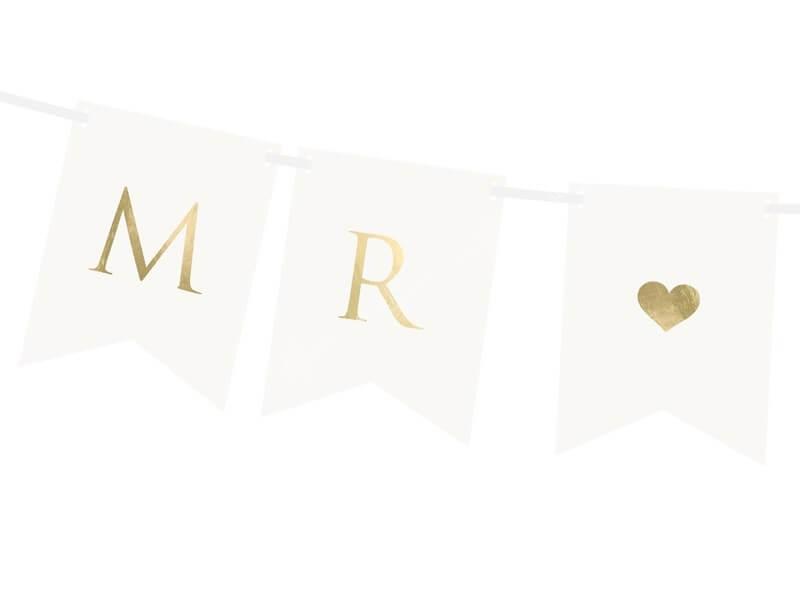 Bannière mariage Mr Mrs, blanc / or