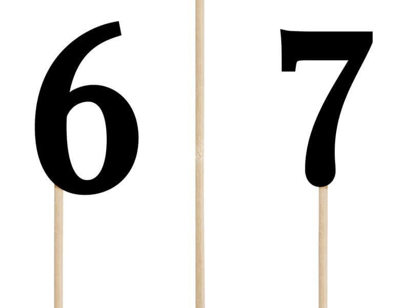 Numéros de table noir de 1 à 10