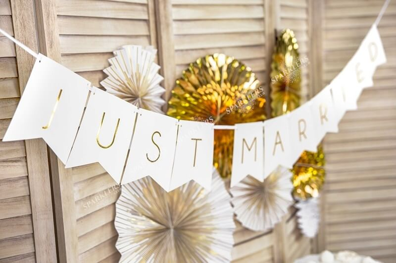 Banner Just Married blanc