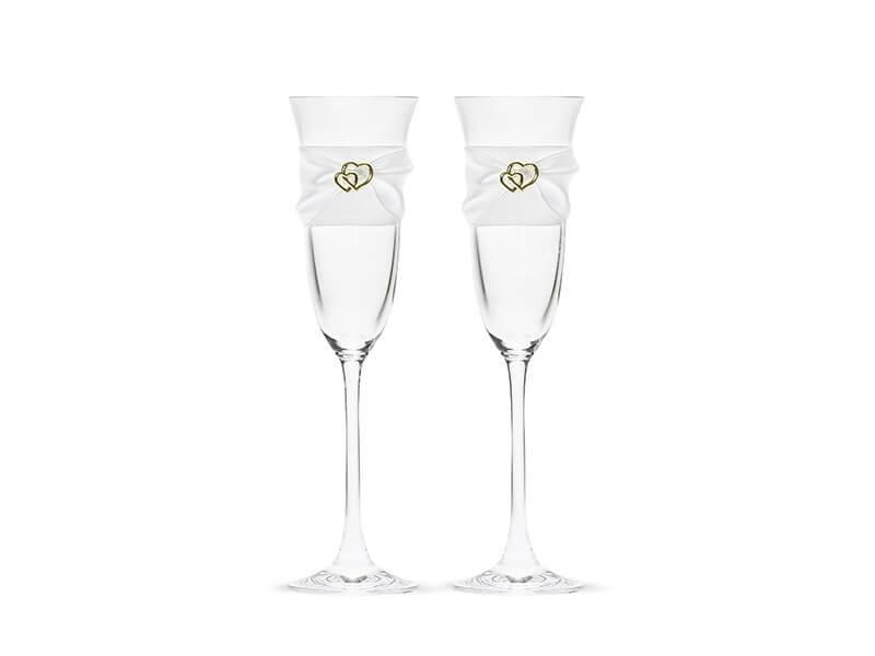 Lot de 2 verres à champagne avec dentelle et coeur or