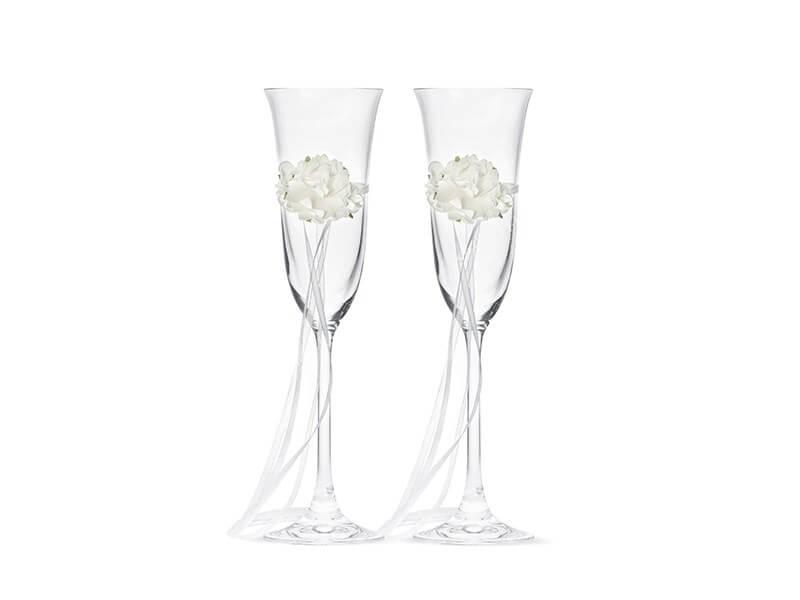 Lot de 2 verres à champagne avec fleur blanche