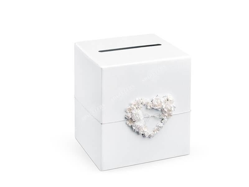 Urne blanche en papier avec fleur en forme de coeur