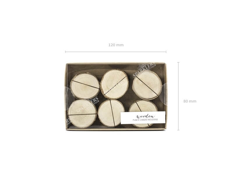Porte-cartes en bois, diamètre 3-4cm lot de 6