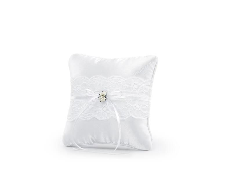 Coussin porte alliances blanc avec dentelle et roses blanche