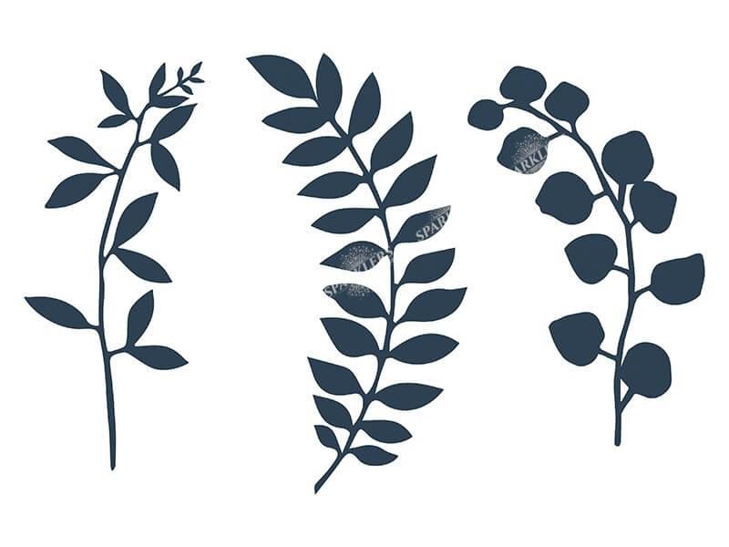 Branche avec décor de feuilles, bleu marin 9 pièces