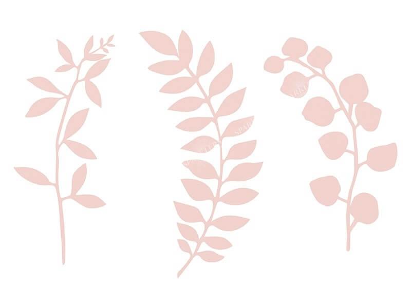 Branche avec décor de feuilles, rose poudré 9 pièces
